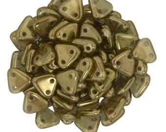 Patina Olive CzechMates Triangle 2 Hole Glass Beads 6mm (50)