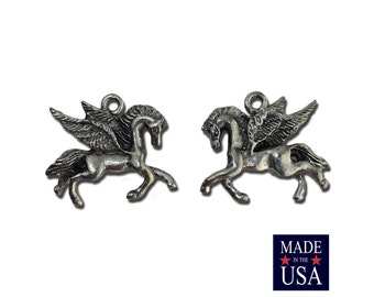 Silver Plated Pewter Pegasus Charm 23x19mm (2) gyb011A