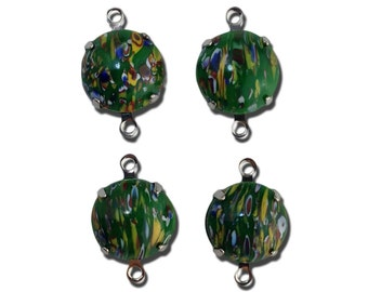 Vintage Green Millefiori Glass Stones 2 Loop Silver Settings 12mm (4) rnd005NN2