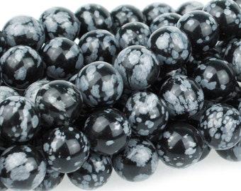 "Dakota Stones Snowflake Obsidian 10mm Round Gemstones. 8"" Strand. SNO10RD-8"
