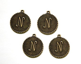 Brass Ox Letter N Initial Charm Drop with Loop (4) chr194N