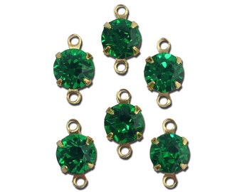 Vintage Medium Emerald Faceted Glass Stone 2 Loop Gold Setting Drops 7mm (6) rnd017LL2