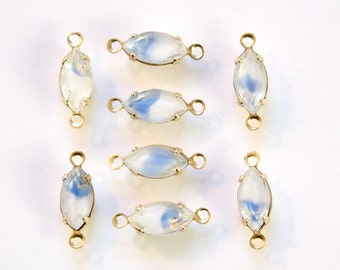 Blue White Clear Givre Glass Navette Stones 2 Loop Brass Setting (8) nav007E2