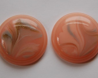 Vintage Pink Silver and Gold Swirl Lucite 30mm Cabochons  cab669A