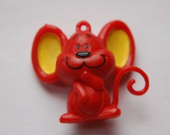 Vintage Red Chubby Mouse Charm Pendant chr057B