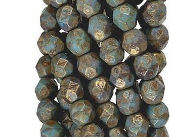 Czech Faceted Chrysocolla Copper Picasso Firepolish Glass Beads 6mm (25)
