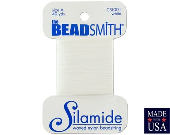 White Silamide Waxed Nylon Beadstring Size A (40 Yards) CSL0001