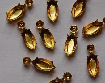 Raw Brass Prong Navette Stone Settings 15x7mm mtl336