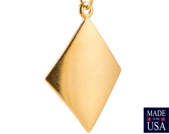 1 Loop Gold Plated Dapped Diamond Charm Pendant (6) mtl435D