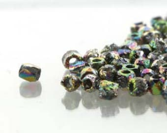 True 2 Czech Etched Full Vitrail Faceted Fire Polished Glass Beads 2mm (200+/-)