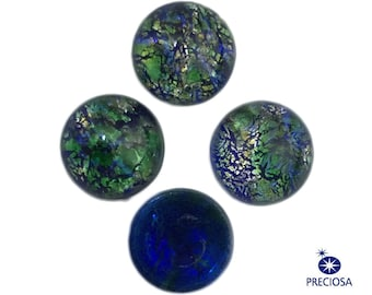 Preciosa Green Foil Opal Round Glass Cabochons 7mm (4) cab3003B