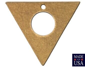 Bottom Hole Center Cutout Brass Flat Triangle Charms Drops 17mm (6) mtl479C