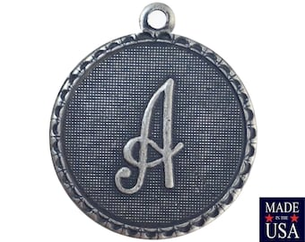 Sterling Silver Ox Plated Letter A Initial Charm Drop with Loop (1) chr214A