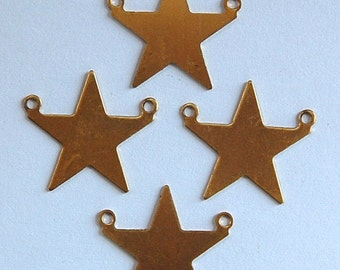 2 Loop Raw Brass Flat Star Connector Pendant Solid (4) mtl161