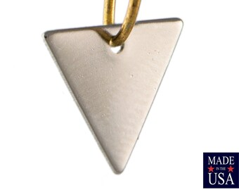 1 Hole Silver Plated Triangle Charms Drops 13mm (10) mtl147U