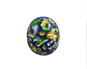 Cobalt Blue Glass Cabochons with Rainbow Foil Inclusions 10x8mm (6) cab913C