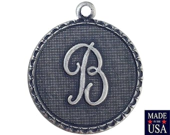 Sterling Silver Ox Plated Letter B Initial Charm Drop with Loop (1) chr214B