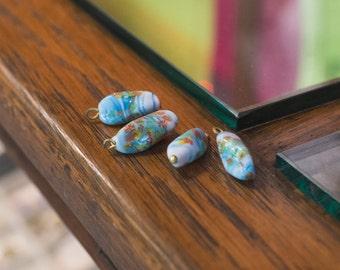 Vintage Japan Blue Millefiori Twist Glass Bead Drops Loop drp033C