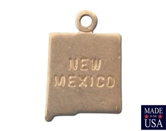 Raw Brass Tiny  New Mexico State Charm Drops (6) chr201Y