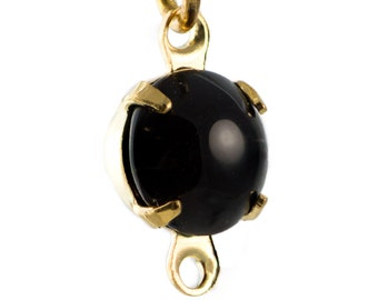 Vintage Black Glass Stone 2 Loop Gold Plated Setting Drops 7mm (6) rnd017F2