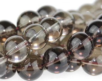 """Dakota Stones Smoky Quartz 10mm Round Gemstones 8"""" Strand SQZ10RD-8"""