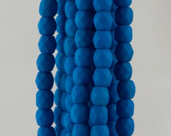 Firepolish Czech Faceted Neon Electric Blue Glass Beads 3mm (50)