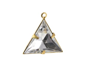 Crystal Clear Faceted Acrylic Triangle in 1 Loop Brass Setting Pendant Drop 20mm (4) tri001L