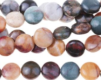 "Dakota Stones Red Creek Jasper 8mm Puff Coin Gemstones. 8"" Strand. RCJ8DC-8"