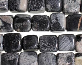 "Dakota Stones Black Silver Leaf Jasper 7mm Cube Gemstones. 8"" Strand. BSL7CUB-8"