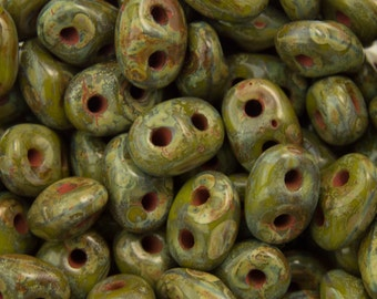 "Picasso Opaque Olive SuperDuo Beads 2/5mm 2.5"" Tube 364-25-T5342/C"