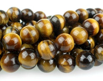 """Dakota Stones Tiger Eye 10mm Round Gemstones. 8"""" Strand. TGE10RD-8"""