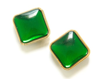 Vintage Green Gold Channel Set Square Beads Diagonal Hole Japan bds997A