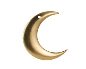 1 Hole Raw Brass ONLY RIGHT Facing Crescent Pendant Hoops (4) mtl110L