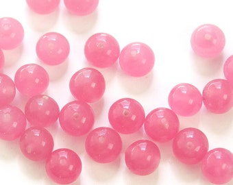 Vintage Rose Pink Glass Beads Japan 8mm (8) jpn003G