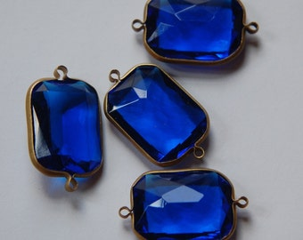 2 Loop Brass Channel Set Faceted Blue Acrylic Charms chr164C