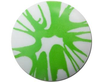 Vintage Green Splatter Acrylic Cabochon 30mm (2) cab393