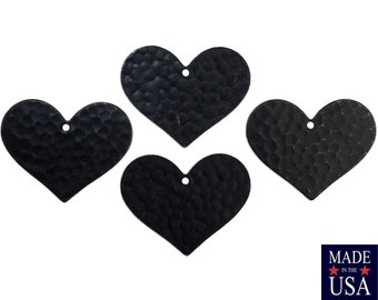 1 Hole Matte Black Plated Hammered Heart Charm Pendant 21x25mm (6) mtl100S