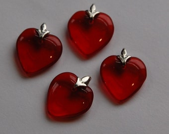 Ruby Glass Heart Charms with Silver Tone Bails hrt004C