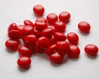 Vintage German Opaque Red Oval Coin Glass Beads 14mm grm043