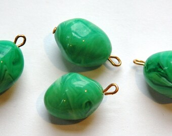 Vintage Chunky Acrylic Green and White Swirled Drops drp046