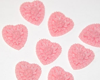 Vintage Style Pink Heart Flower Cluster Cabochons cab612