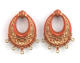 Vintage Burnt Orange with Gold Floral Chandelier Pendants Earrings 40x30mm (2) pnd065E