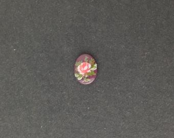 Vintage Pink Rose on Burgundy Glass Flower Cabochons Japan 8x6mm (6) cab423G