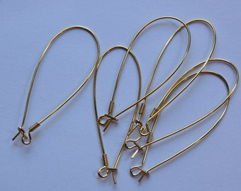 Vintage Gold Plated Large Elongated Kidney Wires (12) fnd012A