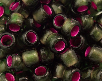 """Silver Lined Frosted Olivine Pink Lined Toho Seed Bead 6/0 2.5"""" Tube TR-06-2204/C"""