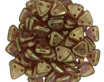 Luster Rose/Gold Topaz CzechMates Triangle 2 Hole Glass Beads 6mm (50)