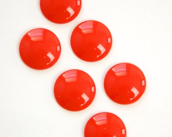 Vintage Red Acrylic Cabochons 15mm (6) cab831C