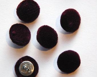 Vintage Plum Soft Velour Fabric Buttons 13mm Metal Shank btn004H