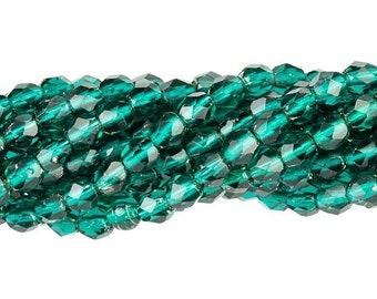 Czech Faceted Silver Lined Viridian Firepolish Glass Beads 4mm (50) 1-04-SL