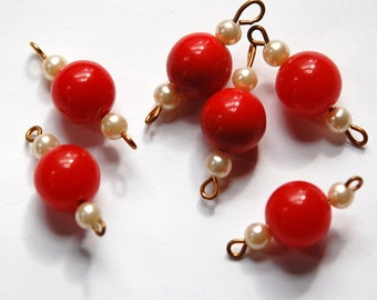 Vintage Red Acrylic bead with Pearls Connector Drops drp067